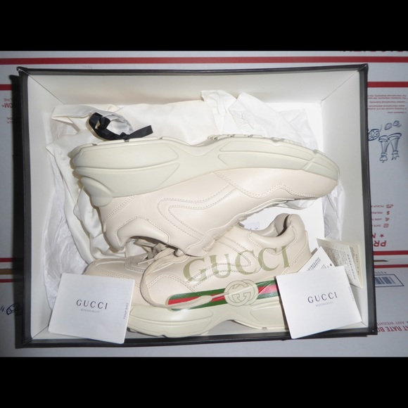 Authentic Gucci Rhyton Leather Sneakers